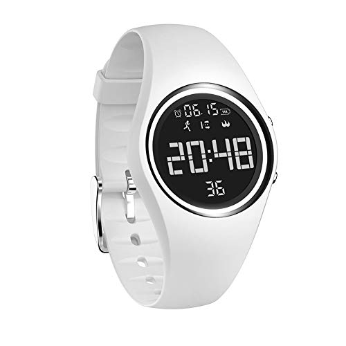 Sports Silicone USB Charge Round Dial Unisex Pedometer Smart Digital Wrist Watch - - White Dial Digital