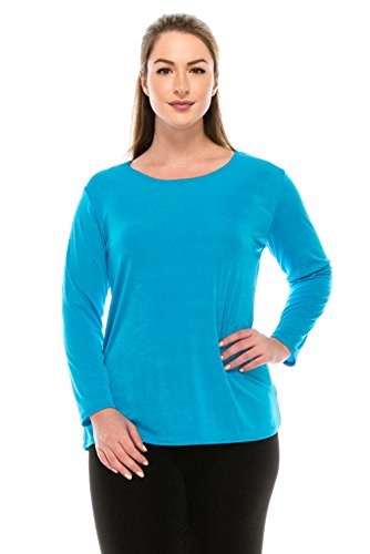 Turquoise Slinky - Jostar Stretchy Big Top with Long Sleeve in Turquoise Color in X-Large Size