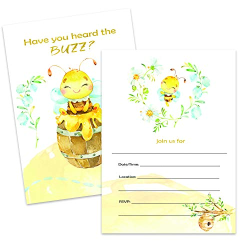 - Bumble Bee Invitations | Large | 12 Invitations + 12 Envelopes | Double Sided | Watercolor with Digital Gold by Tinselbox | Kids Party | Baby Shower | Bridal Shower