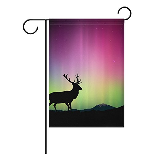 Sunlome The Northern Lights Deer Pattern Garden Flag Double Sized Print Decorative Holiday Home Flag , 28 x 40 - Garden Northern Light