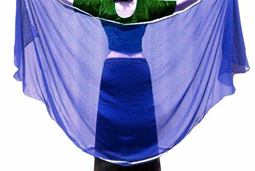 Dancers World SILVER Trimmed SEMI CIRCLE Veils Belly Dance Costume Veil Wrap Scarf (Royal Blue)