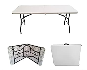6ft Folding Table   Rectangular   Super Tough, Folds In Half With Carry  Handle,