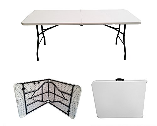 New 1.8M 6ft Heavy Duty Plastic Folding Table 4 Party Banquet Camping Utility UK