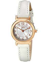 Timex Womens T2P4319J Main Street Modern Minis Rose Gold-Tone Watch with White Leather Band