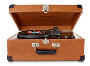 Crosley CR49-TA Traveler Turntable with Stereo Speakers and Adjustable Tone Control, Tan