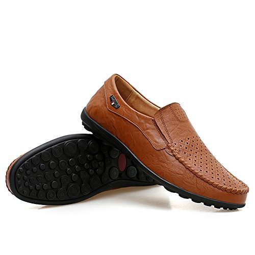 Loafers Boat Classy Casual shoes Tour Go On Go Driving Punched Genuine Fashion Leather Brown The Mens 74qcwPxR