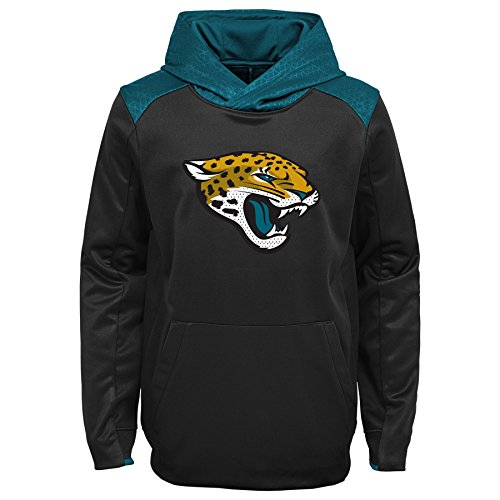 NFL Jacksonville Jaguars Kids & Youth Boys Off The Grid Performance Pullover Hoodie, Black, Youth Medium(10-12)