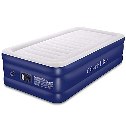 OlarHike Twin Air Mattress with Built-in Pump, Elevated Double High Airbed for Guests, Blow Upgraded Camping Beds for Adults, Flocked Top, Inflated Size: 75×40×18 inches, 18, Blue