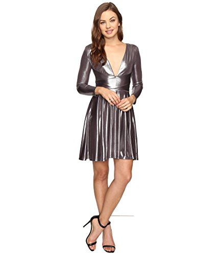 Halston Heritage Women's Long Sleeve V-Neck Draped Waist Metallic Jersey Dress Gunmetal X-Large