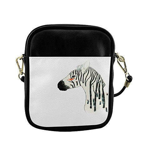 Zebra Print Satchel Handbag (Zebra Print Fashion Womens Cross Body Zip Satchel Handbags Leisure Shoulder Bags Black and White)