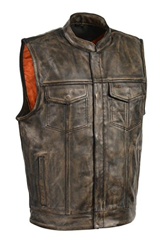 Men's BROWN DISTRESSED SOA Men's Naked Cowhide Leather Vest Zipper & Snap Front w/ 2 Inside Gun Pockets & Single Panel Back (Large)