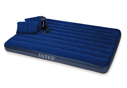 Inflatable Camping Mattress (Intex Classic Downy Airbed Set with 2 Pillows and Double Quick Hand Pump, Queen)