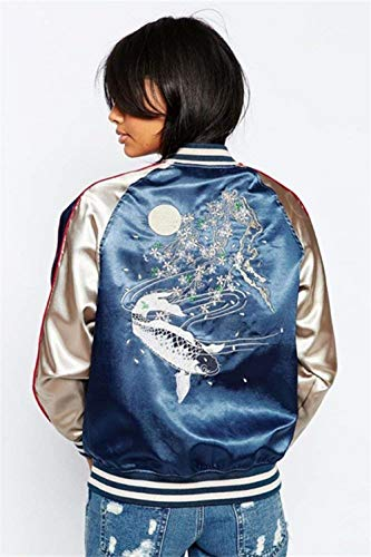 Giacca Blau Donna Eleganti Ragazze Cappotto Fiori Bomber Con Vintage Festa Giacche Ricamo Autunno Libero Tempo Lunghe Corto Style Maniche Cerniera Fashion Pilot 8wdRqE1n