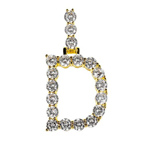 FEDULK Women Mens Hip Hop Chain Jewelry 1 Series 5mm 18Inch Rhinestone Necklace Chain Letter Pendant(Gold, D)