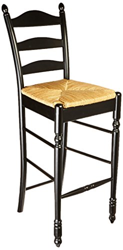 Target Marketing Systems Modern Ladder Back Stool With Rush Seats and Turned Legs, Set of 2, Black - Ladder Back Wood Seat Stool
