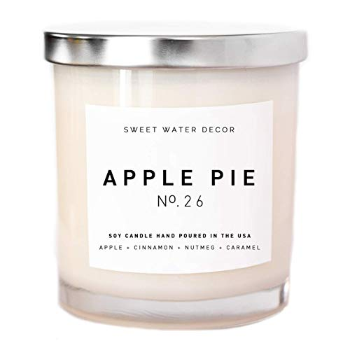 Apple Pie Natural Soy Wax Candle White Jar Apple Pumpkin Clove Cinnamon Nutmeg Ginger Scented Fall Candle Made in USA Lead Free Cotton Wick Autumn Fall Decor Rustic Country Modern -