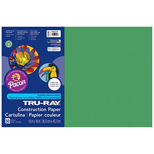 Tru-Ray PAC102961BN Construction Paper, Holiday Green, 12