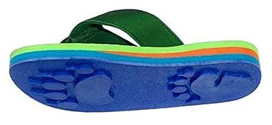 68649460b8e Bear Green Small Kids Paw Print Flip Flops Fun for Beach