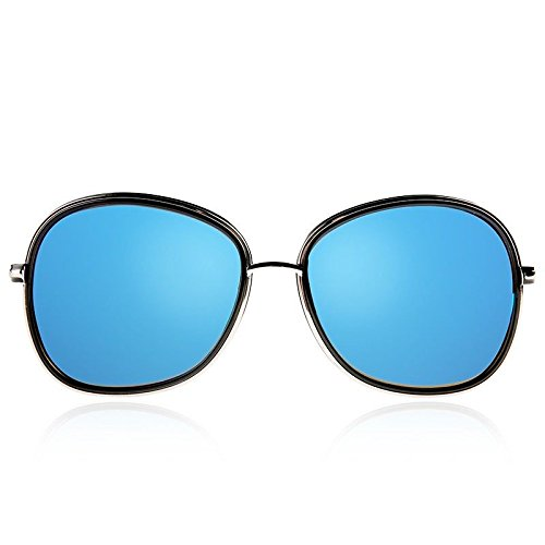de anteojos Sunglasses Mujer Gafas Blue Ovalado Plata Redondo TL de polarizadas Sol tqzpnpaH