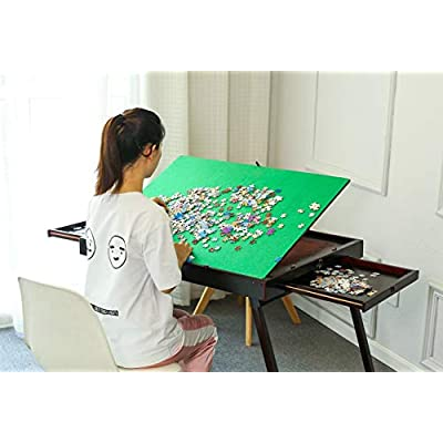 Wooden Jigsaw Puzzle Collapsible Table with Storage Two Drawers, Folding Tilting Table for Jigsaw Puzzle Games 1500 Pieces Puzzles(Open Size: 165x68x110cm H): Toys & Games