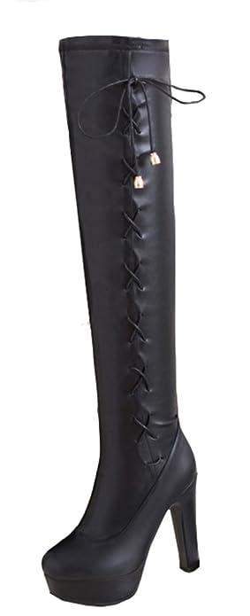 joli design 2019 authentique convient aux hommes/femmes Aisun Femme Sexy Tige Haute Bout Rond Cuissardes Bottes Noir ...