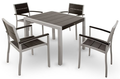 Trex Outdoor Furniture TXS125-1-11CB Surf City 5-Piece Dining Set, Textured Silver/Charcoal Black