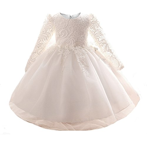 Myosotis510 Girls' Lace Princess Wedding Baptism Dress Long Sleeve Formal Party Wear for Toddler Baby Girl