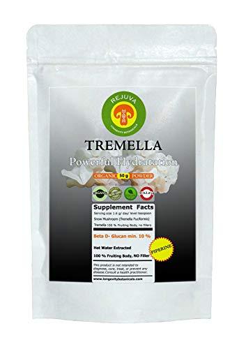 (Organic Tremella (Tremella Fuciformis) Mushroom Extract Powder & Piperine, Beauty and Hydration 50 Gram: 100% USDA Organic Fruiting Body. Small Batch, Produced Fresh. Potent Feel The Difference!)