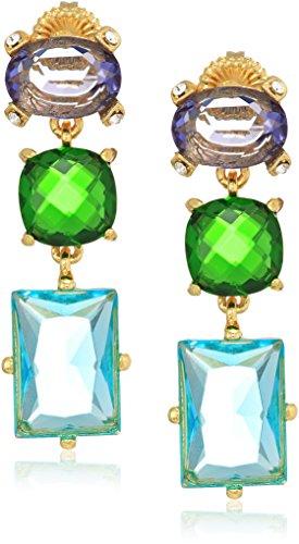 - Badgley Mischka Womens Triple Drop Stone Multi Drop Earrings, Gold Tone, One Size
