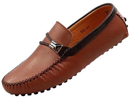 Abby 591 Menn Motekomfortable Loafers Uformell Kraftig Slip-on Mokasiner  Kjøre Sneaker Brun