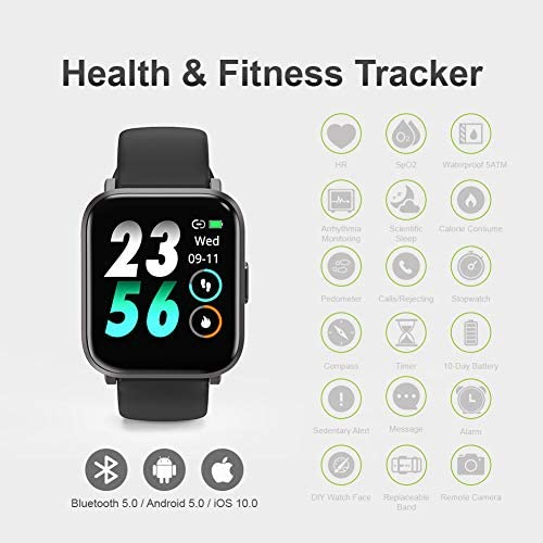 Smart Watch, UXD Fitness Activity Tracker with Sleep Heart Rate Monitor for Men Women 5ATM Waterproof Pedometer Smartwatches for iPhone Samsung Android Phones 2