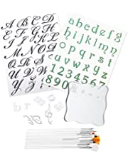 3 PCS Alphabet Numbers Cake Stamp Tool with 15 Brushes for Coloring Silicone Stamp Mold for DIY Biscuit Fondant Cookie Scrapbooking Photo Album