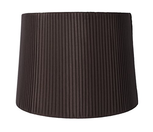 Shade Chocolate Lamp Pink - Urbanest Faux Silk Box Pleated Drum Lampshade, 12x14x10