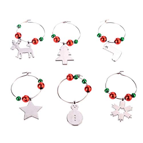 Sharon Church Christmas Wine Glass Decoration Charms Party New Year Cup Ring Table Decor for bedroom outdoor indoor operated colored decorations clearance under ornaments sale (Orange Crush Glass Clock)