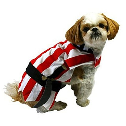 [Pirate Dog Costume Red Striped Halloween Pet Outfit] (Primrose Halloween Costume)