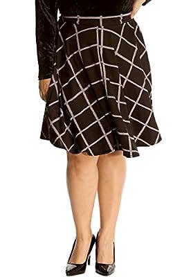 Nouvelle Collection Ladies Plus Size Skirt Women Skater Style Tartan Check Print Knee Length Elasticated Waist