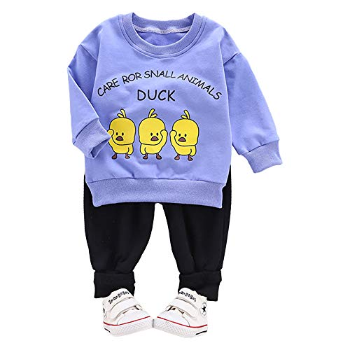 Hopscotch Boys 93% Cotton, 7% Spandex Duck Print Full Sleeves Sweatshirt and Pant Set in Blue Color