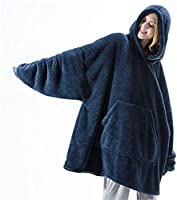 AUMA Original Oversized Wearable Blanket Sweatshirt, Warm Soft Comfortable Flannel Blanket Jumper with Hood & Large...