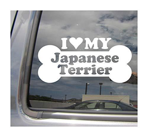 I Heart Love My Japanese Terrier - Dog Bone Kobe Mikado Oyuki Nippon Nihon Teria Purebred Breed Cars Trucks Moped Helmet Auto Automotive Craft Laptop Vinyl Decal Store Window Wall Sticker 13534 ()