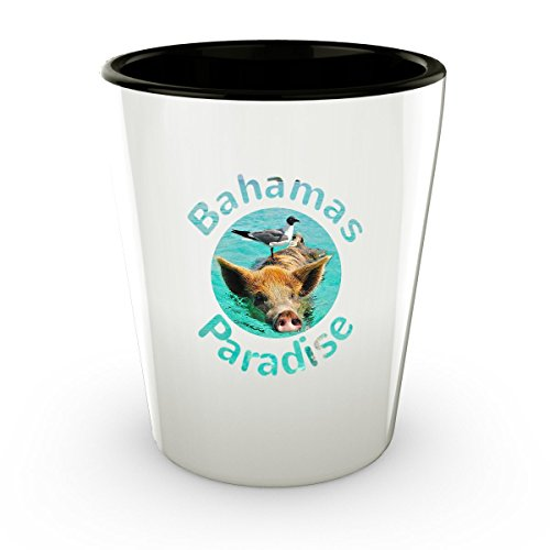 Bahamas Shot Glass - Funny Bird Nesting on Pig - Cute Gift - Perfect Gift For Birthday, Christmass, Men, Women, Friend, Ideal For