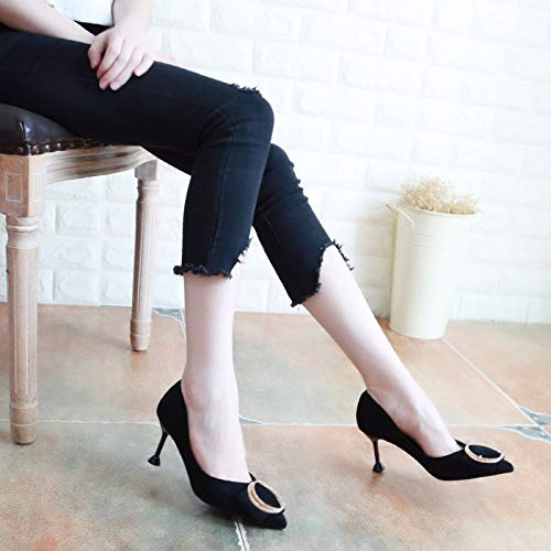 Nine Shoe KPHY And Wild 7Cm Fashion Small Heel Thirty Black Diamond Shoes Shallow Bow Single Autumn Tie High Pointed 88rATZw