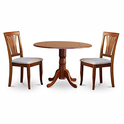 East West Furniture Dublin 3 Piece Drop Leaf Dining Table Set with Microfiber Avon Chairs (Corner Black Nook 3 Set Dining Breakfast Piece)