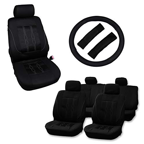 Volvo 940 Seat Belt - OCPTY Car Seat Cover, Universal Seat Cushion w/Headrest Cover/Steering Wheel Cover/Belt Pads 100% Breathable Automotive Accessories with Durable Washable Polyester/Mesh for Most Cars(Black)