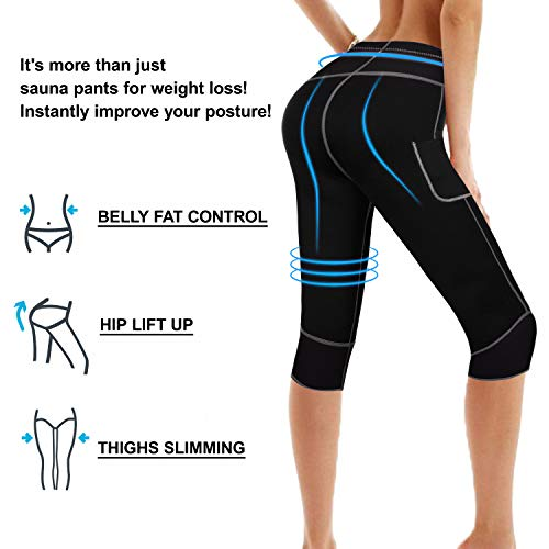 Womens Weight Loss Hot Neoprene Sauna Sweat Pants with Side Pocket Workout Thighs Slimming Capris Leggings Body Shaper (Black, M) by TrainingGirl (Image #4)
