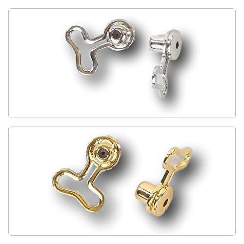 Earrs T-Backs Pierced Ear Lobe Gold or Silver Magic Earring Back Lifts Support Post/Stud (Silver)