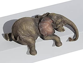 Baby Elephant Laying Down Lounging Shelf Sitter 4 L Figurine