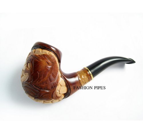 NEW Tobacco Smoking Pipe ''LION 2'' Pear Root Wood Pipe, Hand Carved + POUCH GIFT !