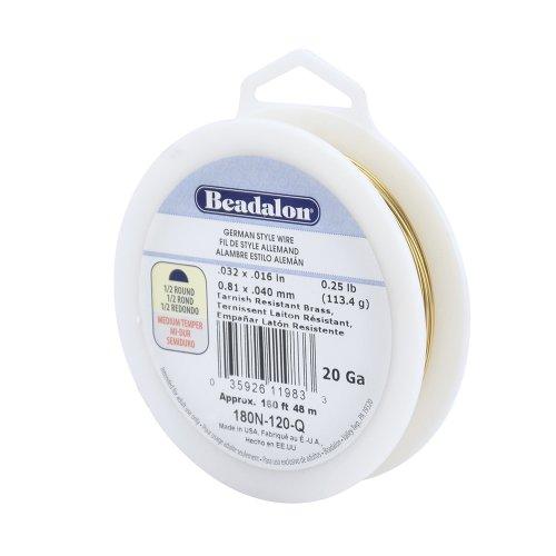 (Beadalon Half Round Tarnish Resistant Brass German Style Wire, 20-Gauge)