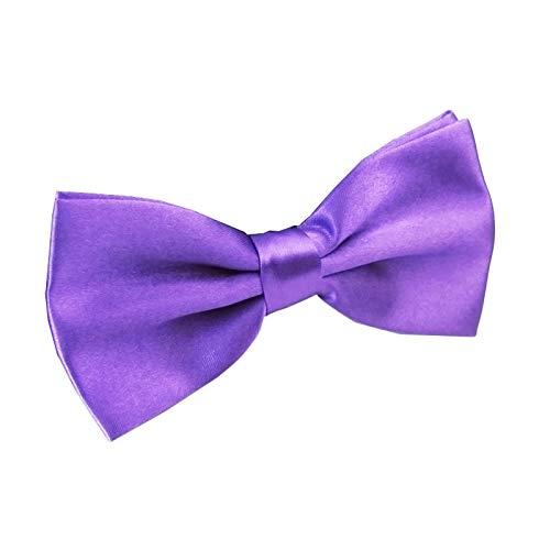 Men's Pre Tied Bow Ties for Wedding Party Fancy Plain Adjustable Bowties Necktie (Purple)]()