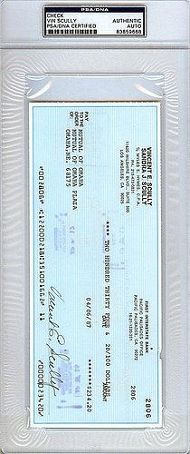 Vin Scully Signed Check Los Angeles Dodgers Certified Genuine Autograph By PSA/DNA Autographed Baseball